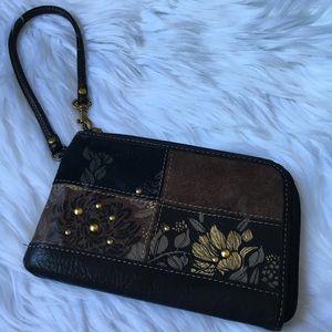 Fossil genuine leather wristlet bag